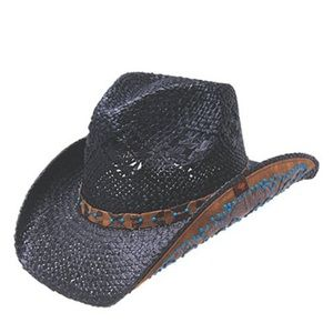 "Peter Grimm black ""Clay"" cowboy hat"